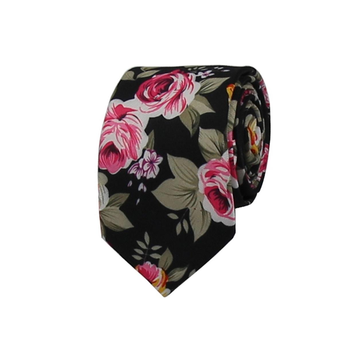 d8f4f5f74e8 Černá květovaná pánská bavlněná kravata. 420