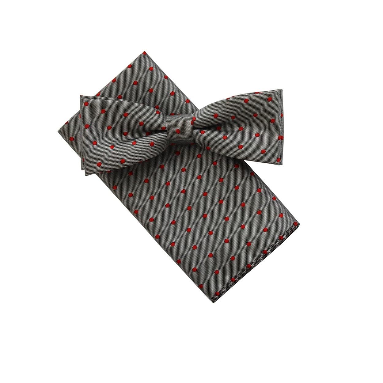 Šedý pánský motýlek s červenými puntíky a kapesníčkem matný
