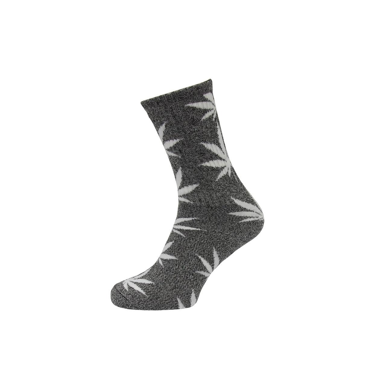 Šedé pánské ponožky s lístky