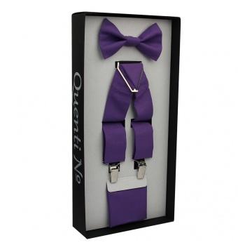 Fialový Luxusní pánský set Šle s motýlkem a kapesníčkem