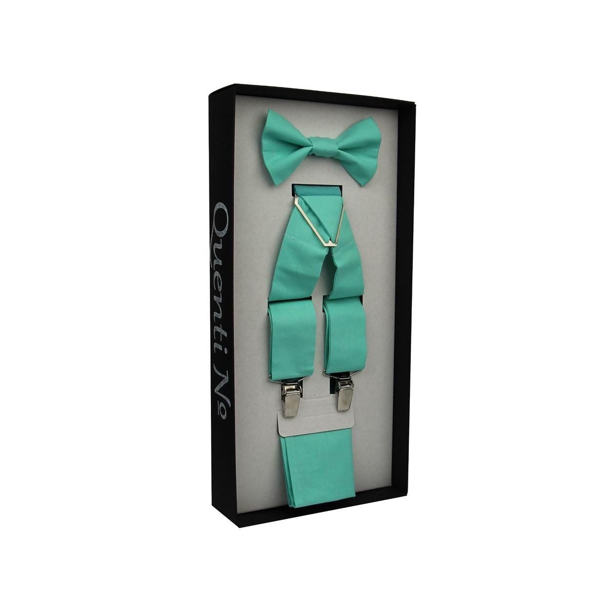 Mátový Luxusní pánský set Šle s motýlkem a kapesníčkem