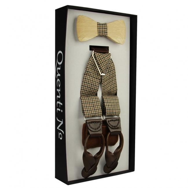 Tvídový Luxusní pánský set Šle a dřevěný motýlek s ponožkami