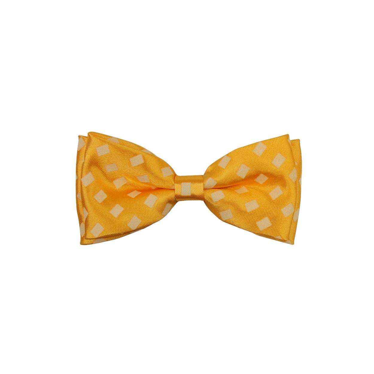 Žlutý dětský motýlek se čtverečky lesklý