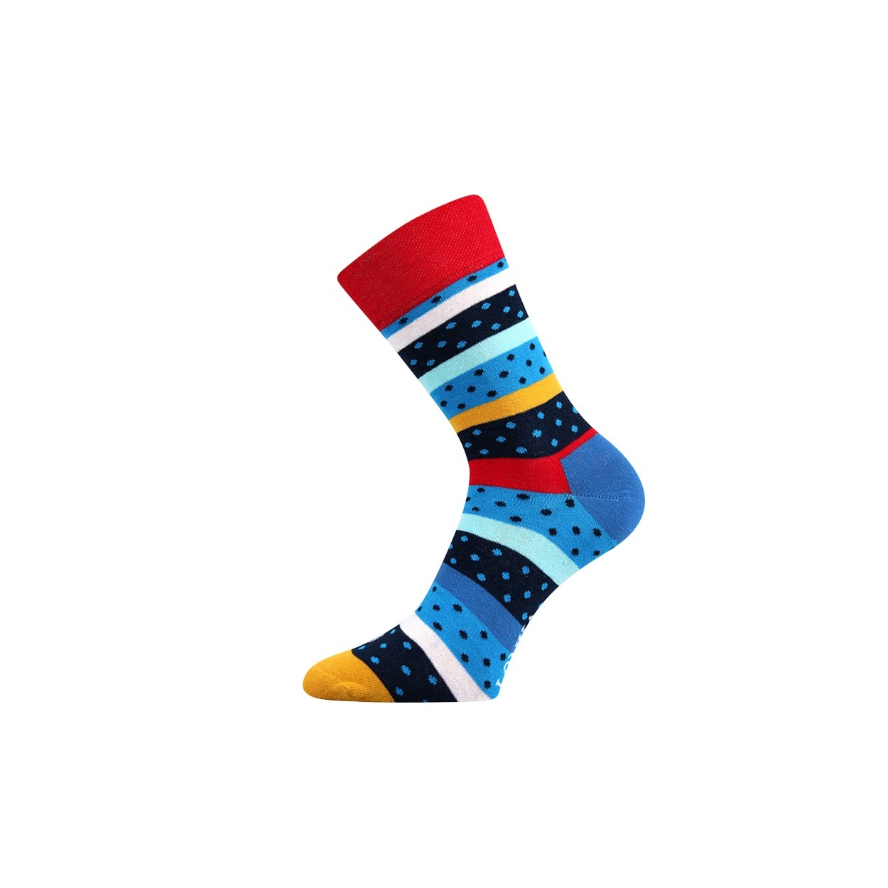 Červené pánské ponožky puntíky, pruhy WOODOO