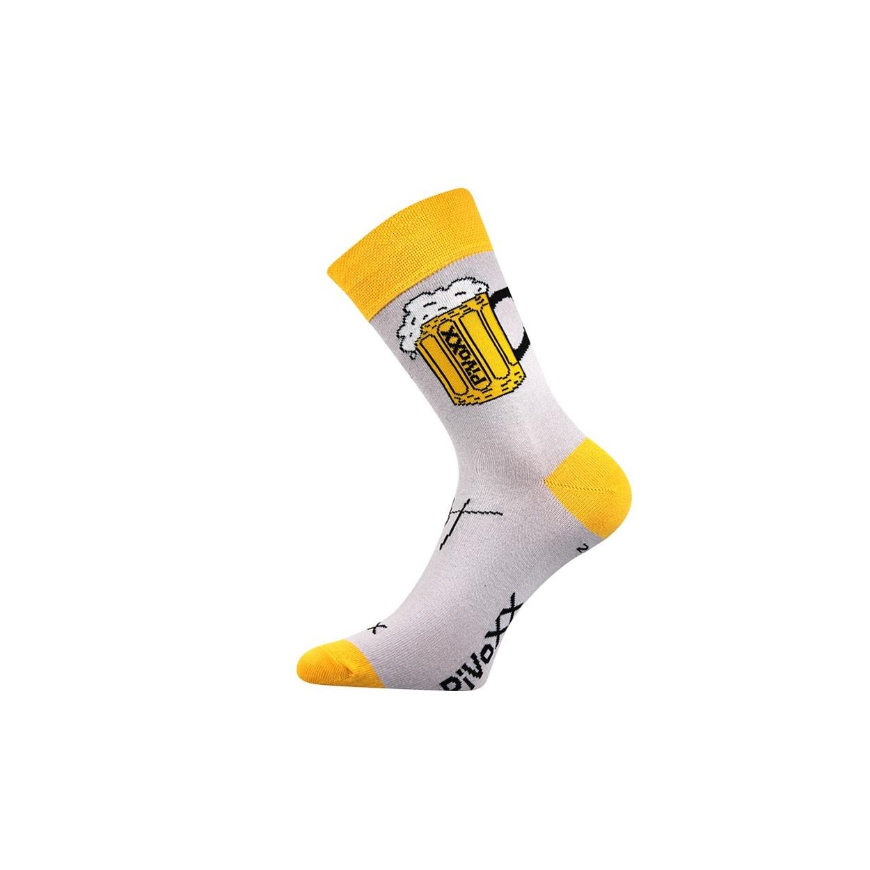 Šedé pánské ponožky PIVO