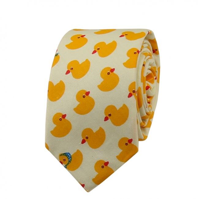Světle béžová kravata s kachničkami