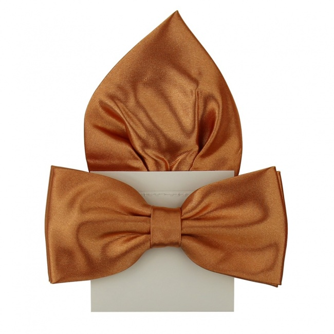 Oranžový pánský motýlek s kapesníčkem lesklý