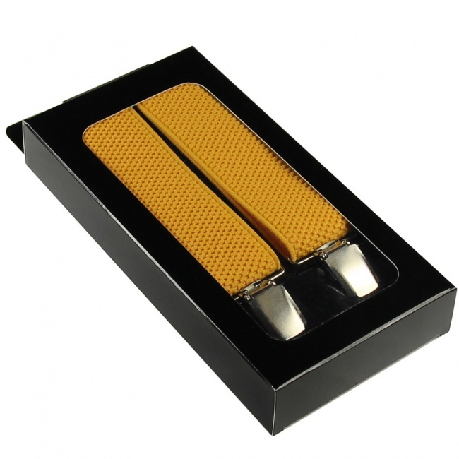 Žluté pánské široké šle - kšandy v krabičce