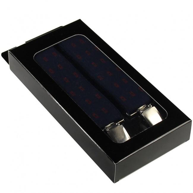 Tmavě modré pánské široké šle - kšandy se vzorem 120cm v krabičce
