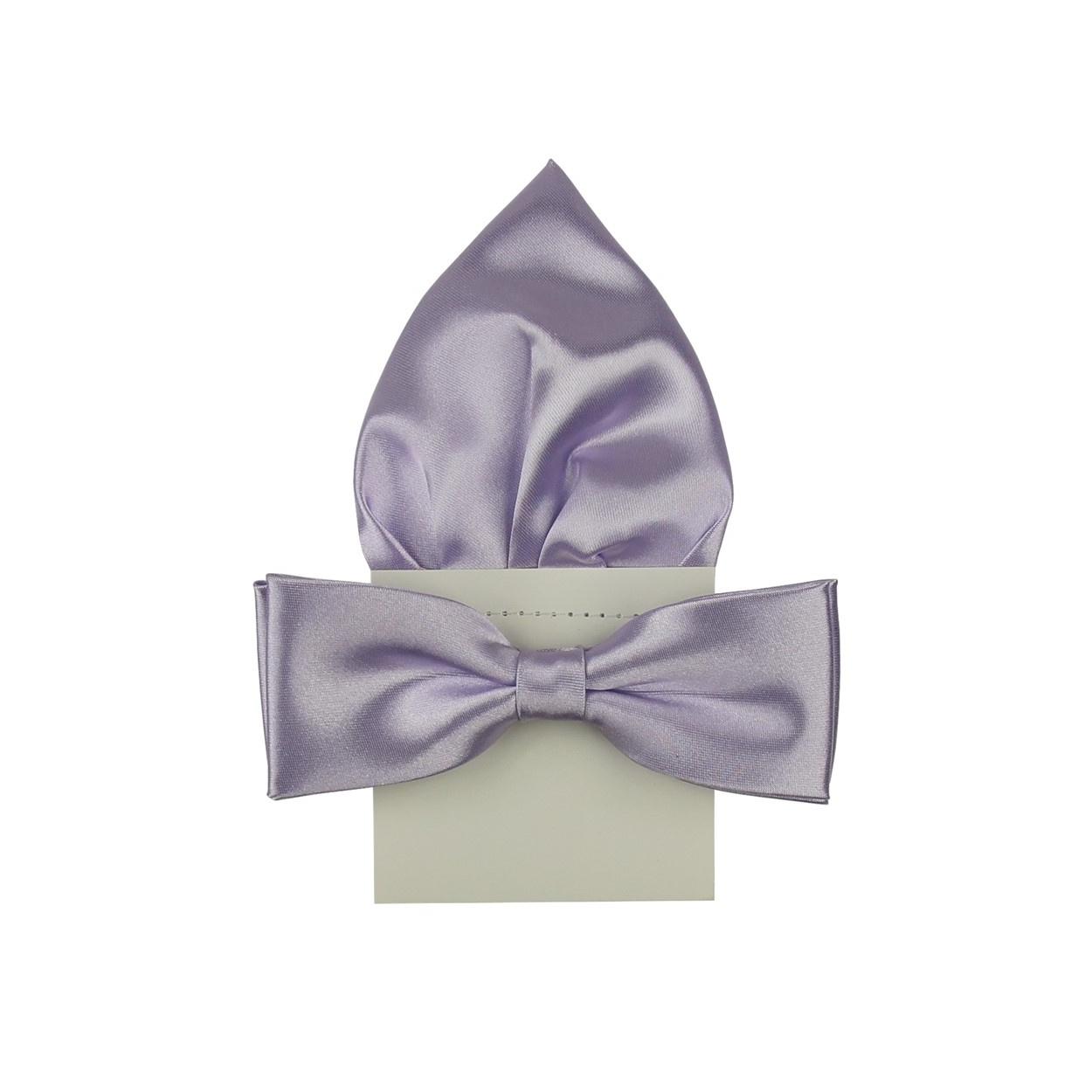 Světle fialový pánský motýlek s kapesníčkem lesklý