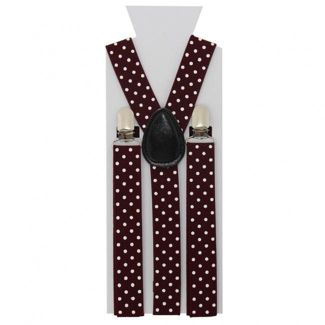 Vínově červené pánské šle - kšandy s bílými puntíky