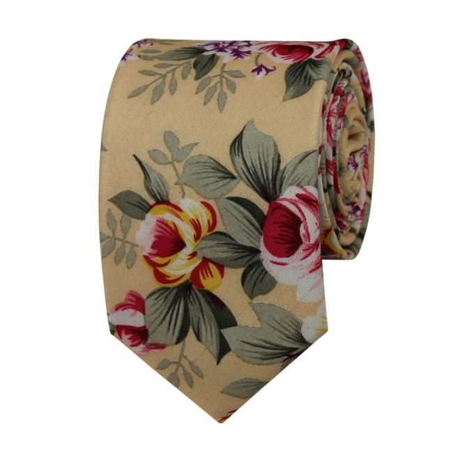 Svetlě meruňková květovaná pánská bavlněná kravata