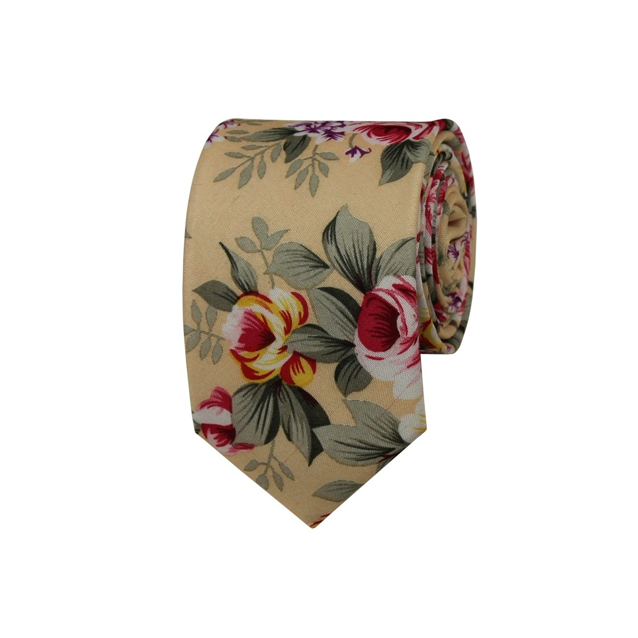 c974fb29994 Svetlě meruňková květovaná pánská bavlněná kravata. 420