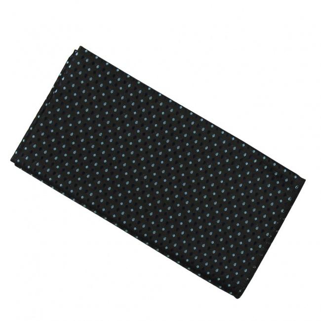 Černý pánský kapesníček do saka s modro tyrkysovými puntíky