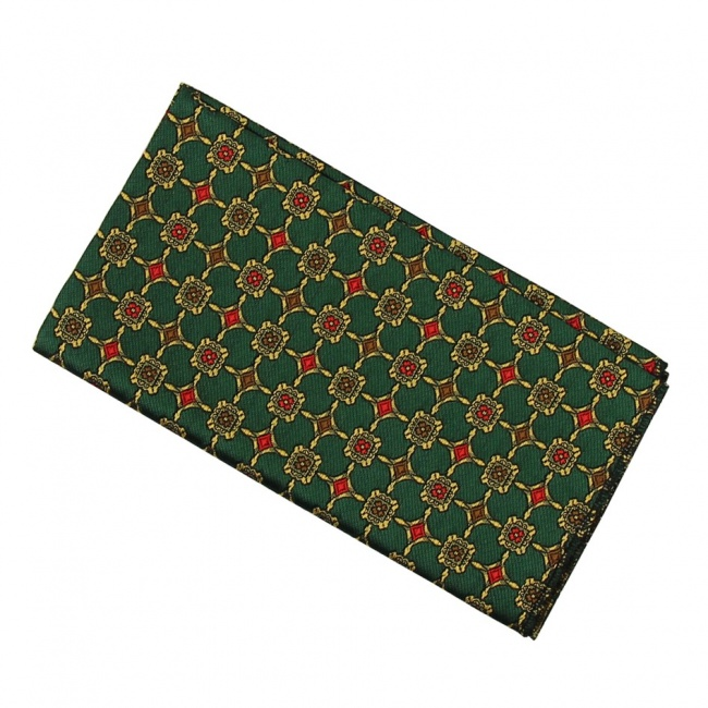 Zelený pánský kapesníček do saka se zlatými aplikacemi