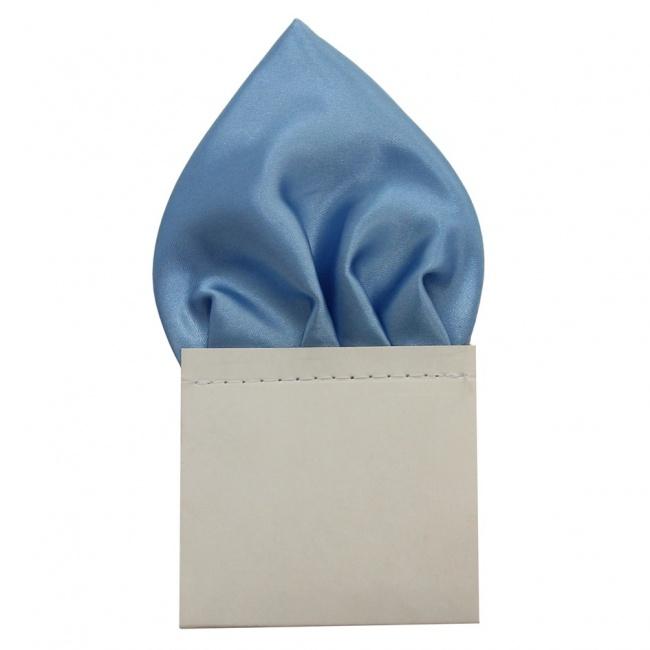 Světle modrý pánský kapesníček do saka lesklý
