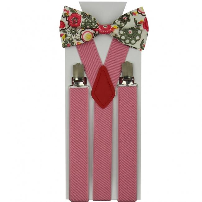 Světle růžový pánský set Šle a Balvněný motýlek s květinkami