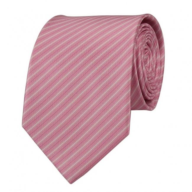 Světle růžová pánská kravata s bílo růžovými proužky
