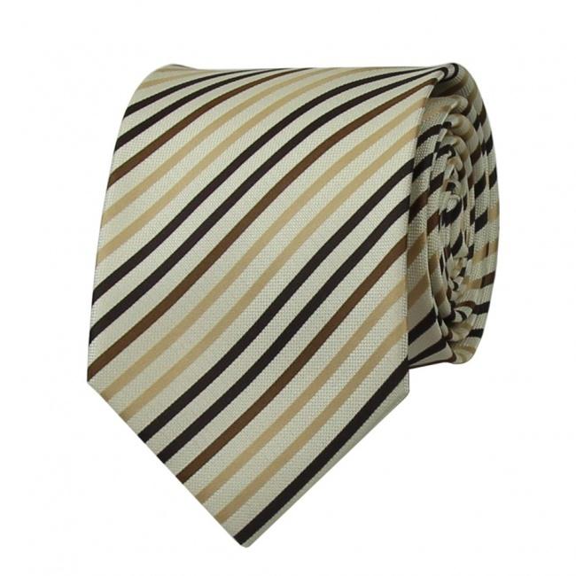 Béžová pánská kravata s hnědými proužky