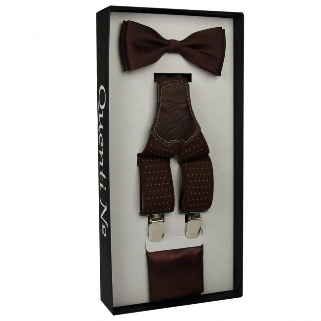Tmavě hnědý Luxusní pánský set Šle a motýlek s kapesníčkem