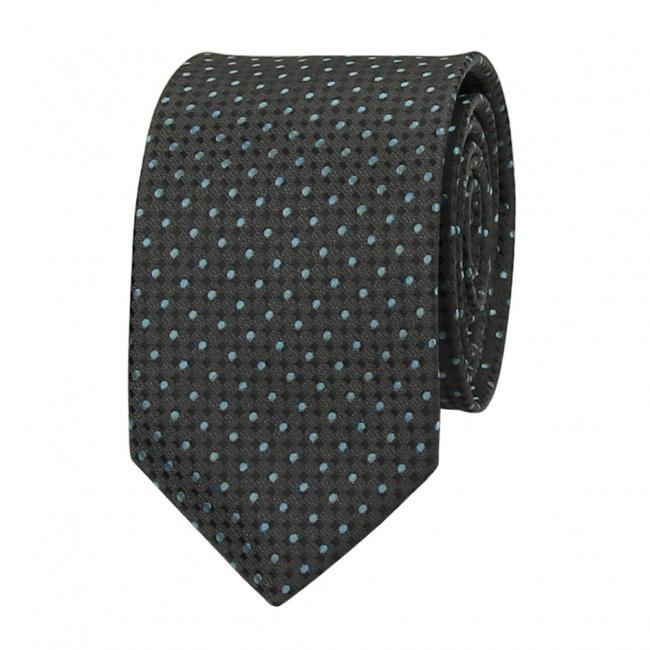 Tmavě šedá pánská kravata s šedo tyrkysovými puntíky