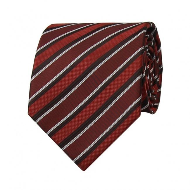 Vínově červená pánská kravata s červeno černo bílými pruhy