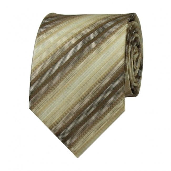 Béžovo hnědá pánská kravata s proužky