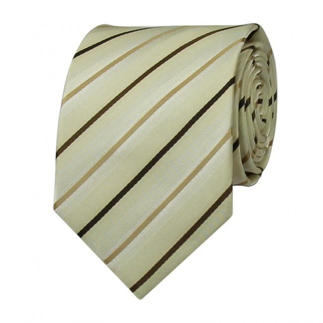 Béžová pánská kravata s hnědými pruhy