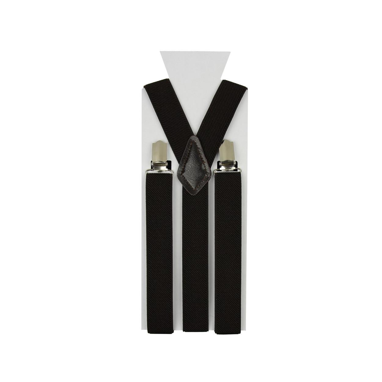 Tmavě hnědé pánské šle - kšandy 110cm