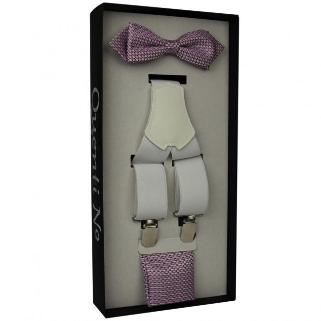 Fialkovo růžovo bílý Luxusní pánský set Šle a motýlek s kapesníčkem