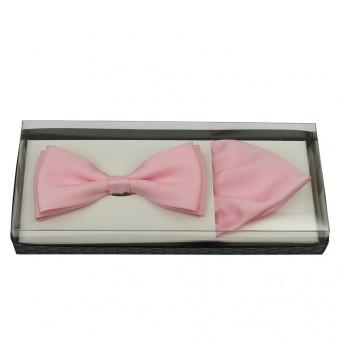 Světle růžový pánský motýlek s kapesníčkem matný v krabičce