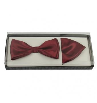 Vínově červený pánský motýlek s kapesníčkem lesklý v krabičce