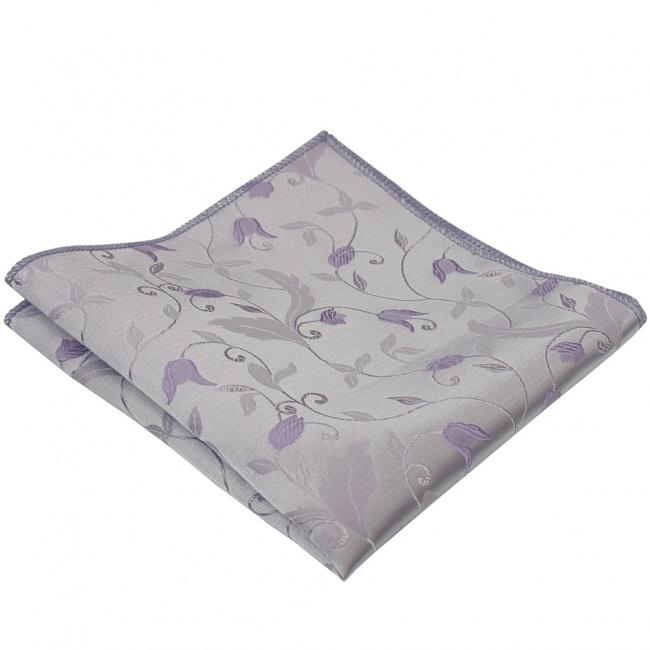Světle fialový pánský kapesníček do saka s vyšítými květy