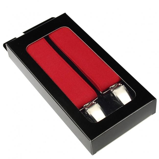 Červené pánské široké šle - kšandy 120cm v krabičce