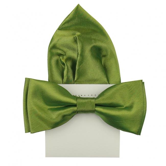 Trávově zelený pánský saténový motýlek s kapesníčkem lesklý