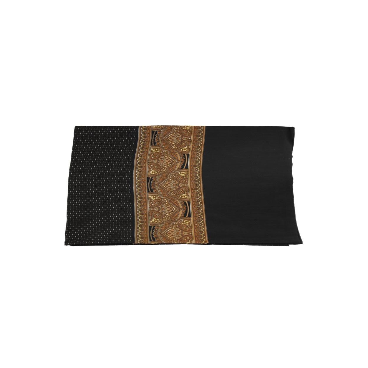 Černá pánská šála s hnědým vzorem a puntíky