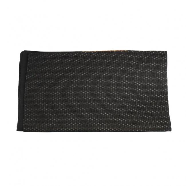 Černá pánská šála s hnědým vzorem a puntíky 2