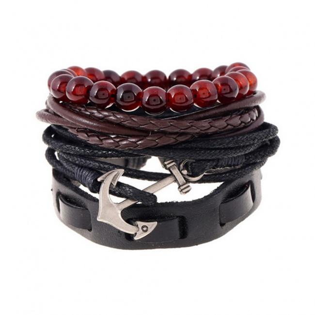 Černo hnědá sada náramků s červenými korálky a kotvou