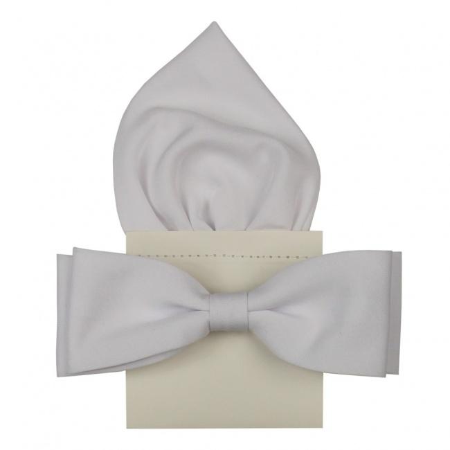 Bílý pánský motýlek s kapesníčkem matný