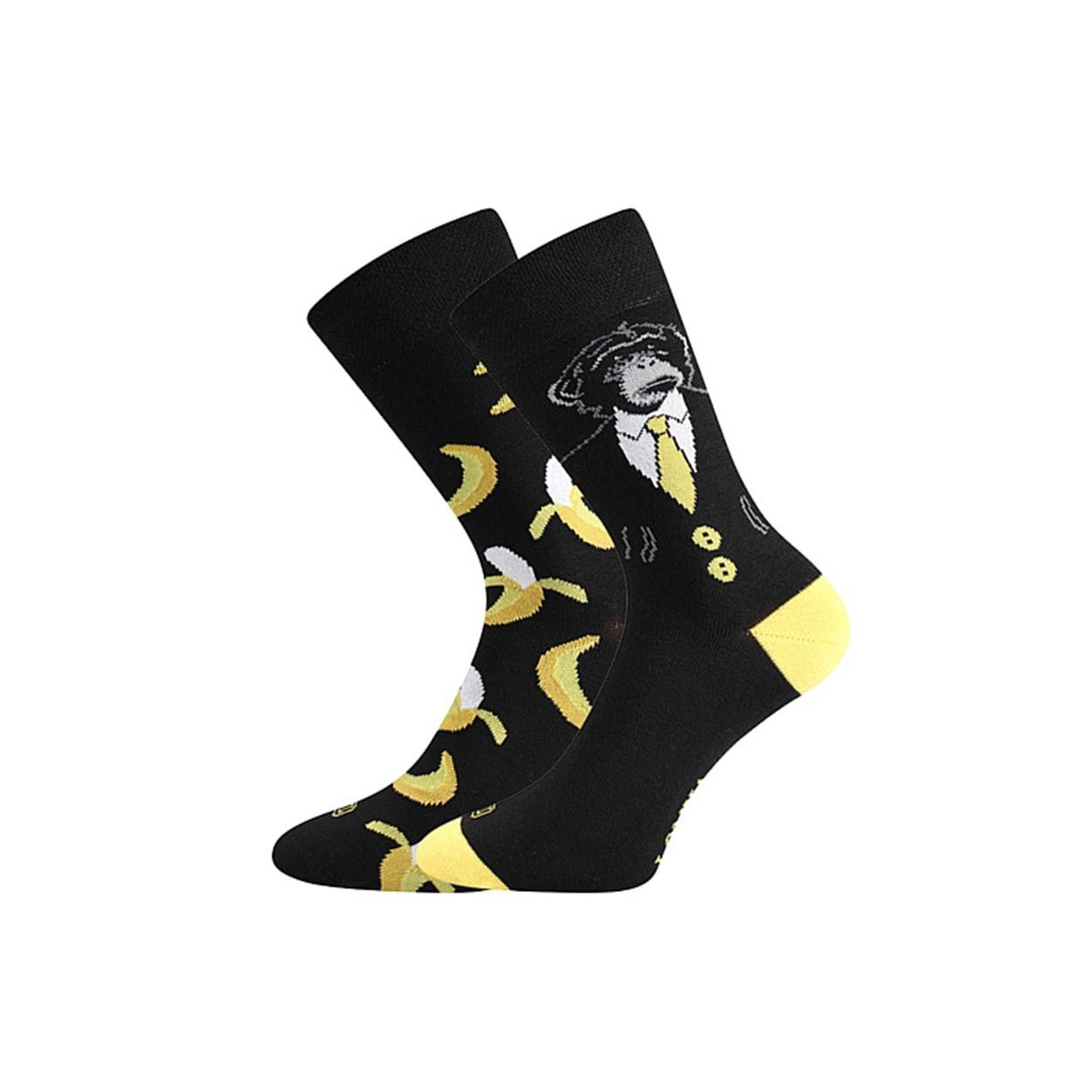 Černé pánské ponožky OPICE S BANÁNY