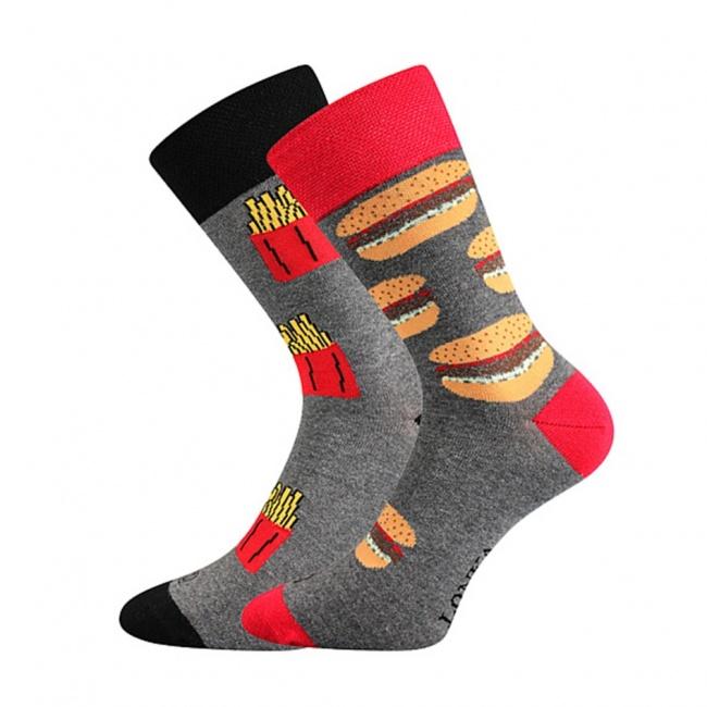 Šedo červené pánské ponožky FASTFOOD