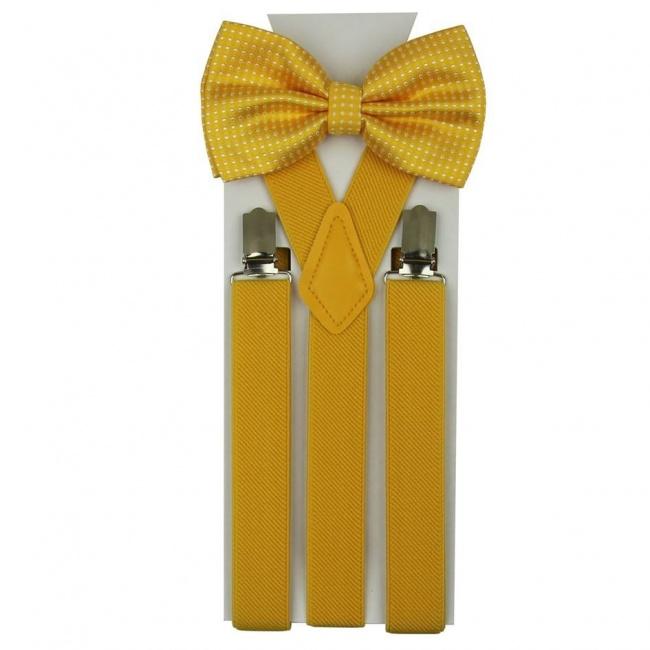 Žlutý set Šle & Motýlek s puntíky