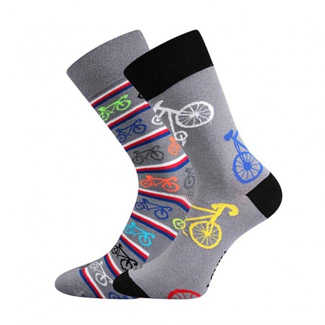 Světle šedé pánské ponožky JÍZDNÍ KOLA