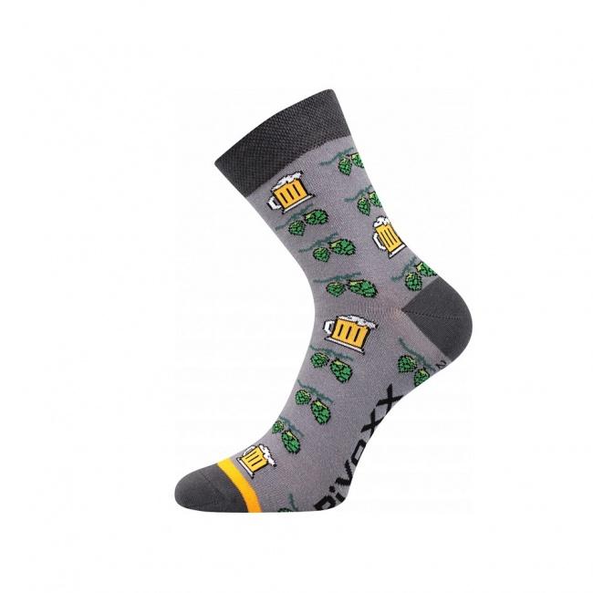 Šedé pánské ponožky PIVO a CHMEL