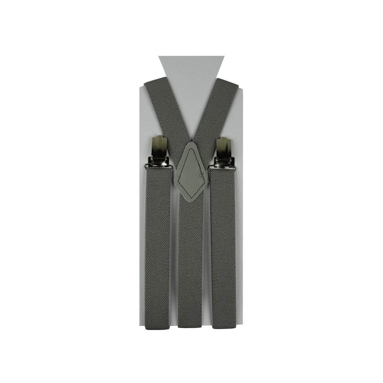 Moderní šedé pánské šle ve tvaru Y o délce 110 cm.