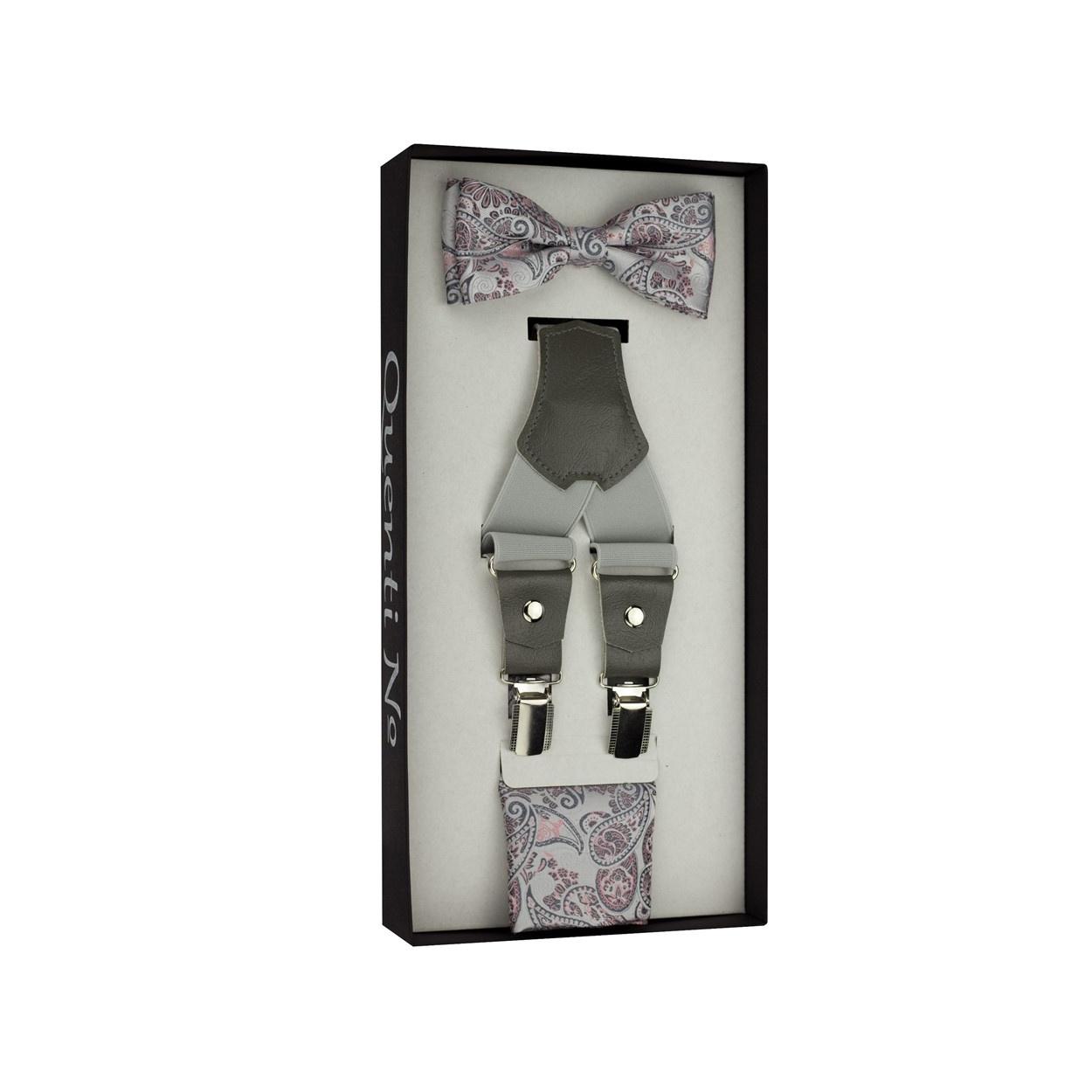 Světle šedý Luxusní pánský set Šle s koženým středem a Paisley motýlek s kapesníčkem