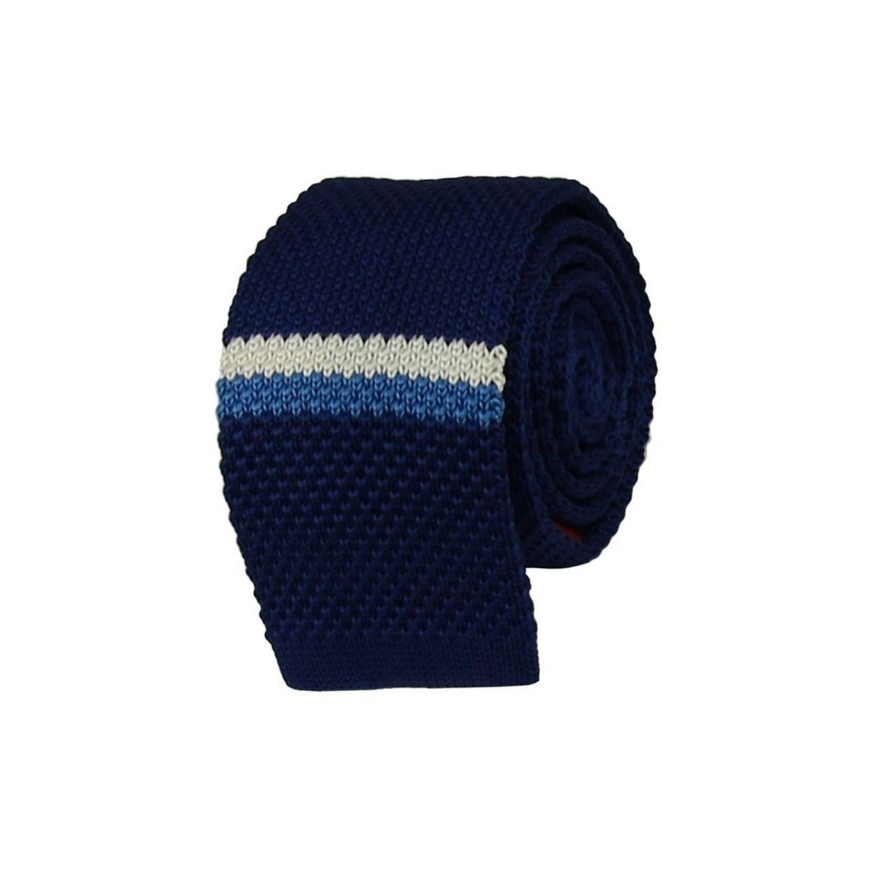 Modrá pletená kravata s bílo modrým pruhem