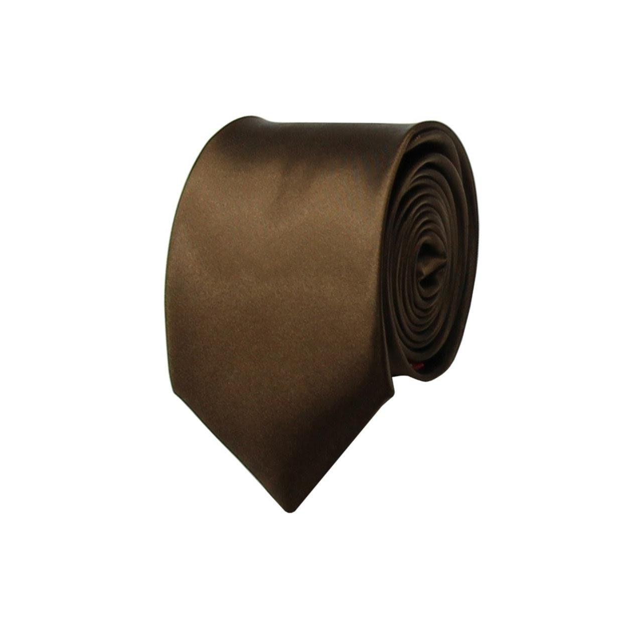 Hnědá pánská kravata lesklá
