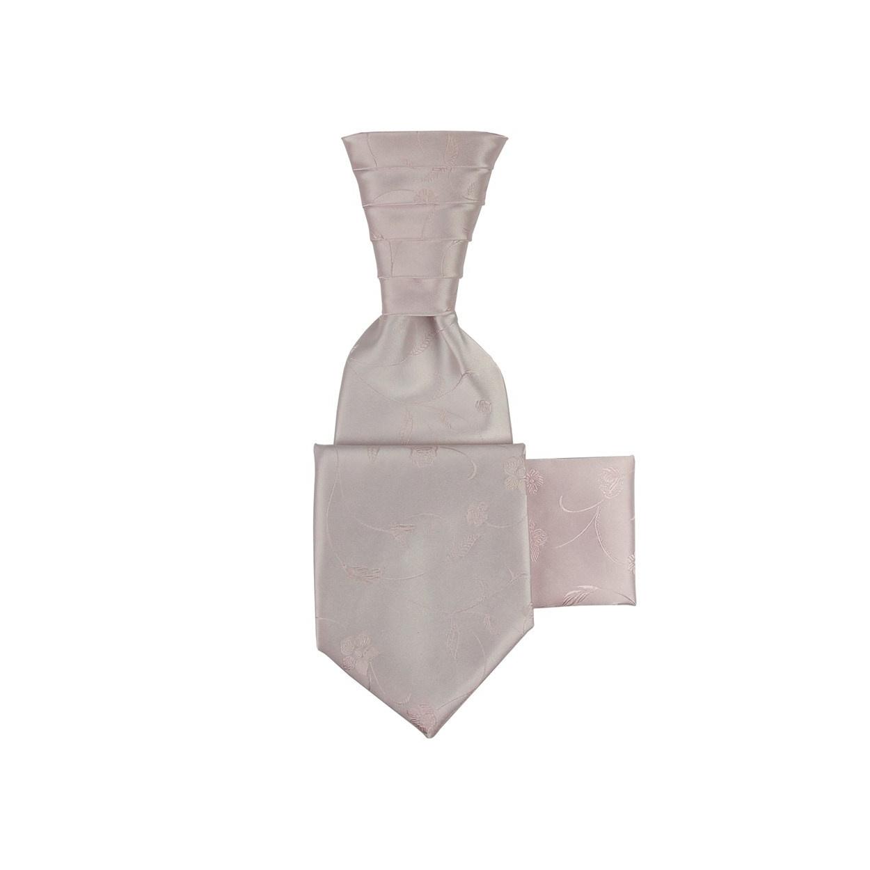 Jemně růžová svatební kravata s kapesníčkem - Regata