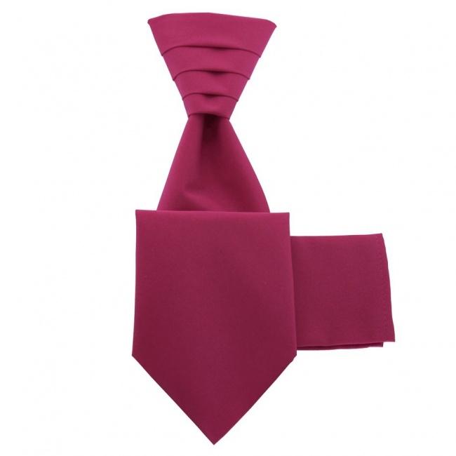 Cyklamově růžová svatební kravata s kapesníčkem - Regata